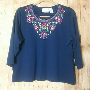 Alfred Dunner Embroidered Scoop Neck Top Size PL